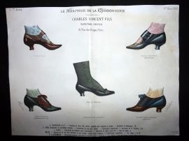 Le Moniteur de la Cordonnerie 1889 Rare Hand Colored Shoe Design Print 66